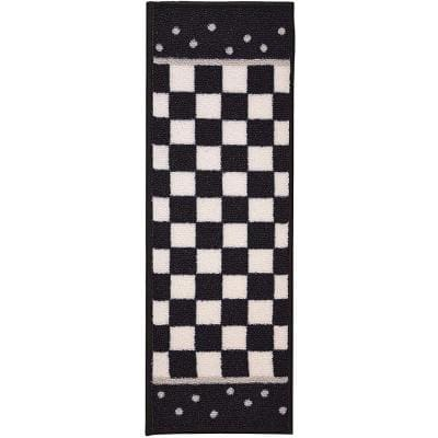 Indoor MacKenzie  Design Black and White 8-1/2 in. x 26 in. Slip Resistant Backing Stair Tread Cover (Set of 3)
