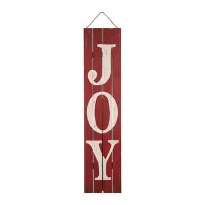 42 in. H Joy Christmas Wooden Porch Sign
