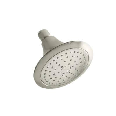 Forte 1-Spray 5.5 in. Single Wall Mount Fixed Rain Shower Head in Vibrant Brushed Nickel