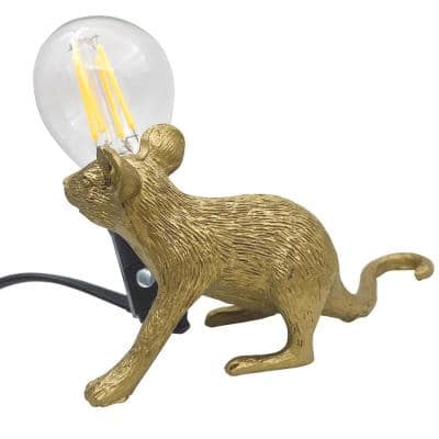 2.7 in. Gold Indoor Table Desk Lamp with Cute Mouse Rat Shape