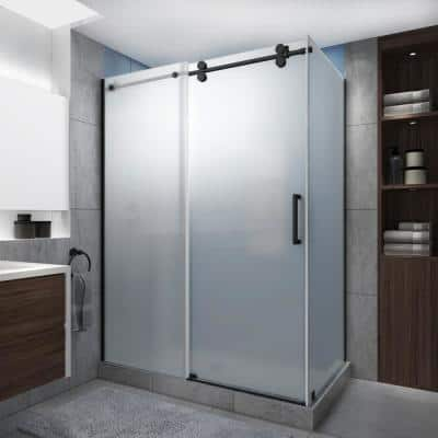 Langham XL 60-64 in. x 34 in. x 80 in. Sliding Frameless Shower Enclosure Ultra-Bright Frosted Glass in Matte Black