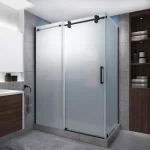 Langham XL 60-64 in. x 38 in. x 80 in. Sliding Frameless Shower Enclosure Ultra-Bright Frosted Glass in Matte Black