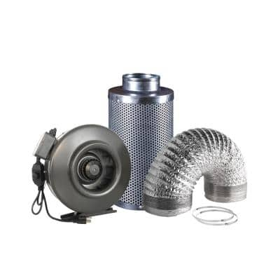 410 CFM 6 in. Centrifugal Inline Duct Fan with Carbon Filter and Aluminum Ducting for Indoor Garden Ventilation
