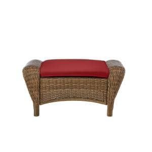 Beacon Park Brown Wicker Outdoor Patio Ottoman with CushionGuard Chili Red Cushions