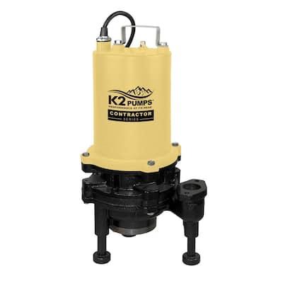 2 HP Submersible Sewage Grinder Pump, Cast Iron