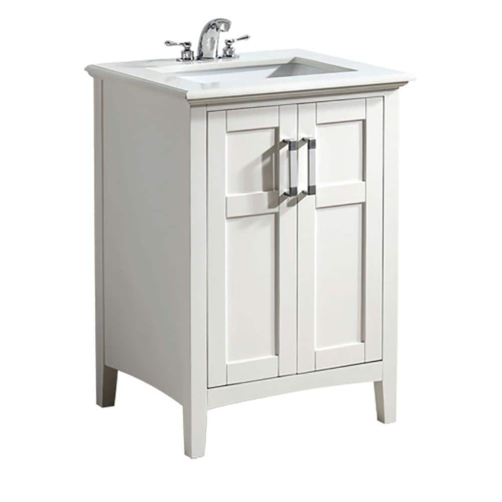Simpli Home Winston 24 In Bath Vanity In Soft White With Quartz Marble Vanity Top In Bombay White With White Basin Nl Winston Wh 24 2a The Home Depot