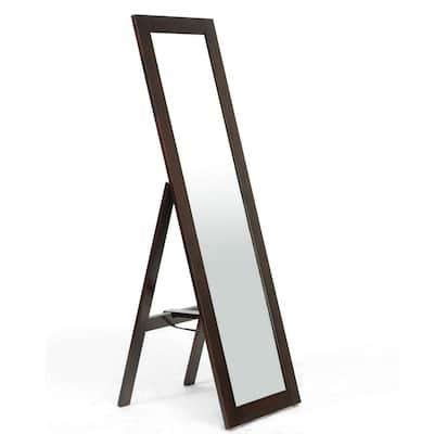 Oversized Dark Brown Wood Modern Mirror (60.25 in. H X 18 in. W)