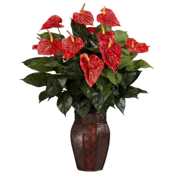 Nearly Natural 30 In H Red Anthurium With Vase Silk Plant 6666 The Home Depot