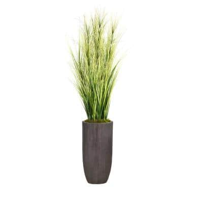 74.25 in. Tall Onion Grass Artificial Faux Decorative with Twigs in Resin Planter