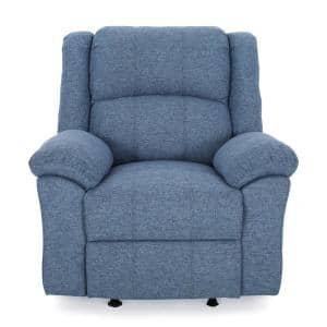 Kearney Traditional Navy Blue Tweed Fabric Glider Recliner with Pillow Top Arms