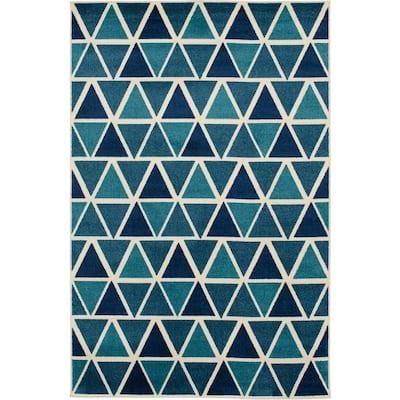 Patio Brights Blue 6 ft. x 9 ft. Triangles Polypropylene Indoor/Outdoor Area Rug