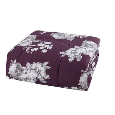 Peony 12-Piece Purple Floral Comforter Set
