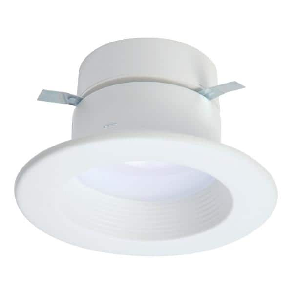 Halo Rl 4 In White Integrated Led Recessed Ceiling Light Trim At Selectable Cct 2700k 5000k Extra Brightness 915 Lumens Rl4099s1ewhr The Home Depot