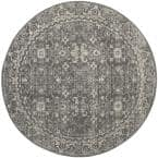 Evoke Gray/Ivory 7 ft. x 7 ft. Round Floral Speckles Distressed Area Rug