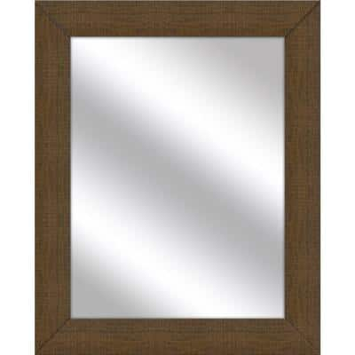 Medium Rectangle Natural Brown Art Deco Mirror (31.5 in. H x 25.5 in. W)