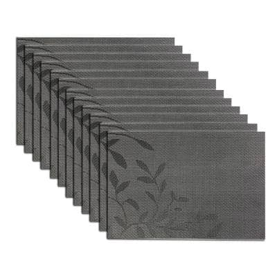 EveryTable 18 in. x 12 in. Black and White Leaves Jacquard Polyester Placemat (Set of 12)