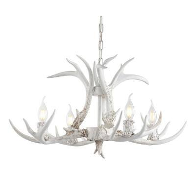 Eldora 26 in. Adjustable Resin Antler 4-Light White LED Chandelier