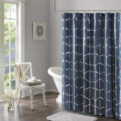 Khloe Navy/Silver 72 in. x 72 in. Printed Metallic Shower Curtain