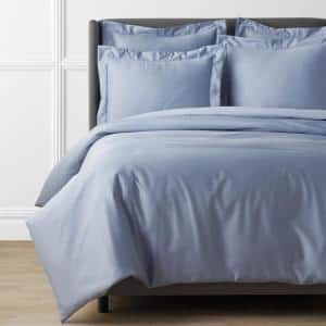 Legends Hotel Supima Cotton Wrinkle-Free Blue Shadow King Sateen Duvet Cover
