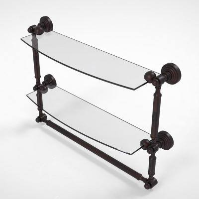 Waverly Place Collection 18 in. 2-Tiered Glass Shelf with Integrated Towel Bar in Venetian Bronze
