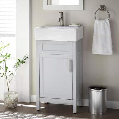 Arvesen 18 in. W x 12 in. D Vanity in Dove Grey with Ceramic Vanity Top in White with White Sink