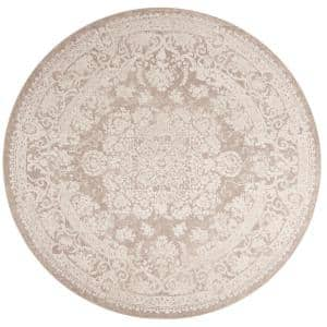 Reflection Beige/Cream 7 ft. x 7 ft. Round Border Floral Area Rug