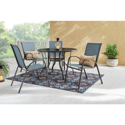 Mix and Match Stackable Brown Steel Sling Outdoor Patio Dining Chair in Denim