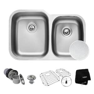 Outlast Microshield Undermount Stainless Steel 32 in. 60/40 Double Bowl Kitchen Sink Kit
