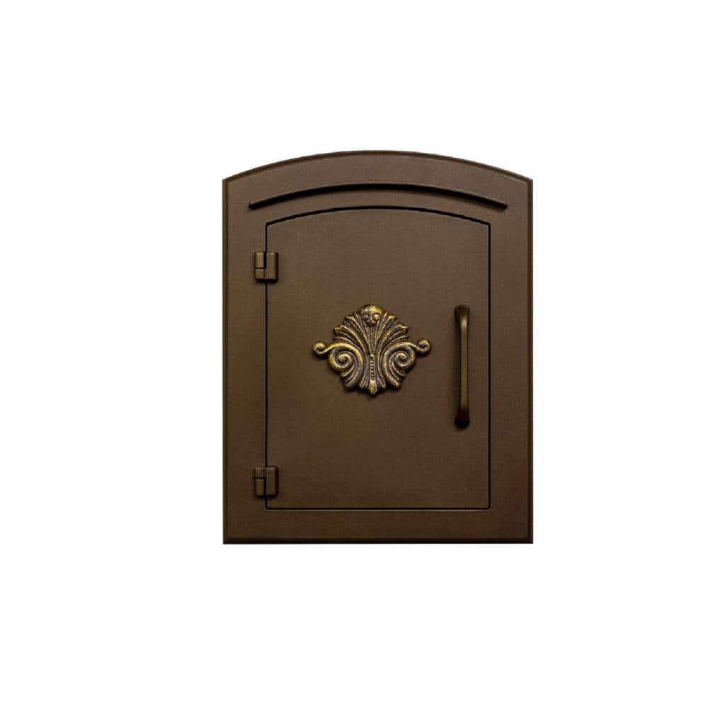Manchester Bronze Column Mount Non Locking Mailbox With Decorative Scroll Logo Man 1401 Bz The Home Depot