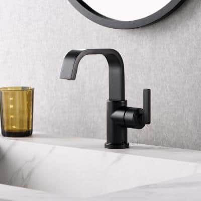 Single Hole Single-Handle Bathroom Faucet with drain in Matte Black
