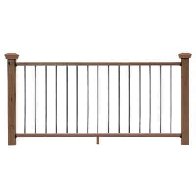 6 ft. Redwood Moulded Rail Kit with Aluminum Round Balusters