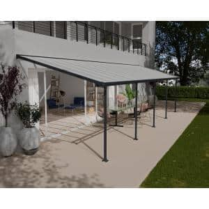 Feria 10 ft. x 32 ft. Gray Patio Cover Awning