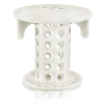 1 in. - 1.25 in. Bathroom Sink Drain Protector Hair Catcher in White