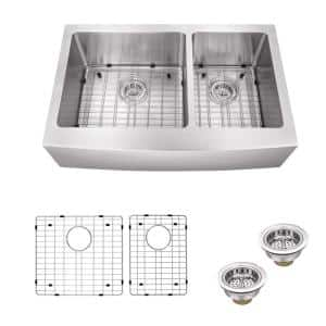 Farmhouse Apron Front Undermount 16-Gauge Stainless Steel 36 in. 60/40 Double Bowl Kitchen Sink with Grid Set and Drains