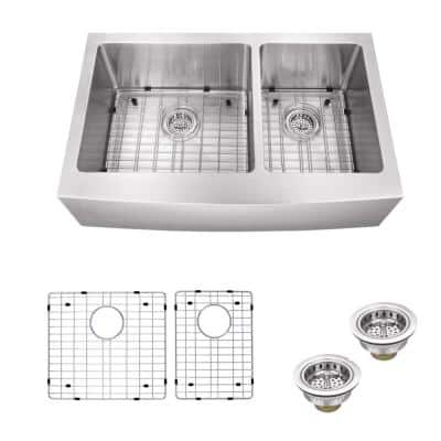 Farmhouse Apron Front Undermount 16-Gauge Stainless Steel 33 in. 60/40 Double Bowl Kitchen Sink with Grids and Drains