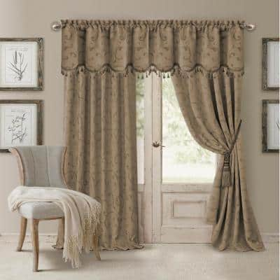 Taupe Jacquard Blackout Curtain - 52 in. W x 84 in. L