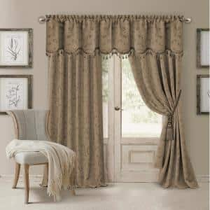 Taupe Jacquard Blackout Curtain - 52 in. W x 95 in. L