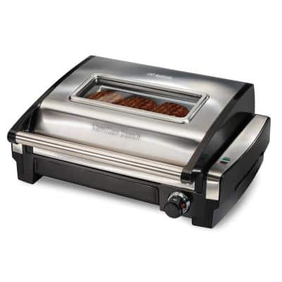 Searing Grill 118 in. Stainless Steel Indoor Grill with Non-Stick Plates and Lid Window