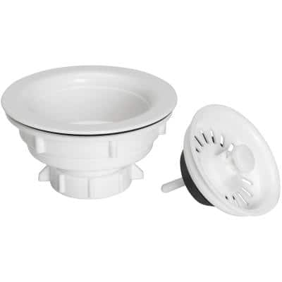 Fixed Post Kitchen Sink Strainer - Plastic with white finish