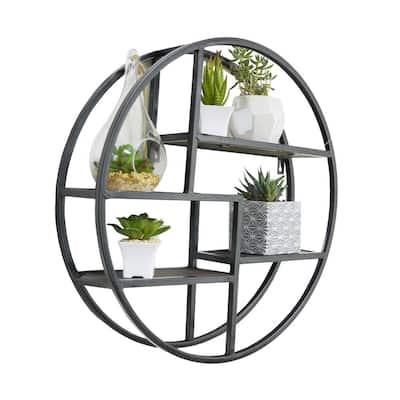 Black Round Wall-Mounted Iron Hanging Storage Floating Shelves