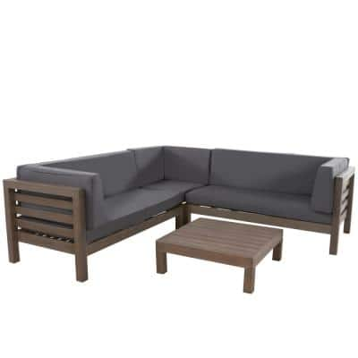 Oana gray 4-Piece Wood Outdoor Sectional Set with Dark gray Cushions