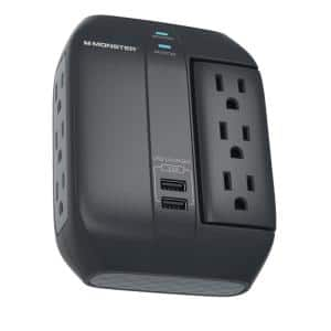 Monster 6-Outlet Wall Tap Surge Protector 1-Side Swivel Socket