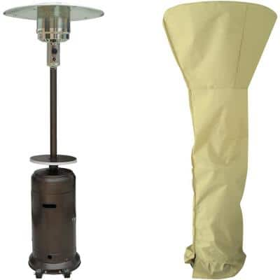 48,000 BTU Bronze Steel Umbrella Patio Heater with Weather-Protective Cover