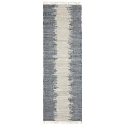 Grey Jagged Chindi 2 ft. 6 in. x 12 ft. Runner Rug