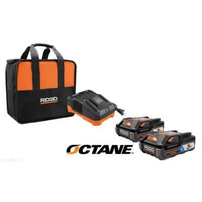 18-Volt OCTANE Bluetooth 3.0 Ah Batteries (2-Pack) and Charger Kit with Tool Bag