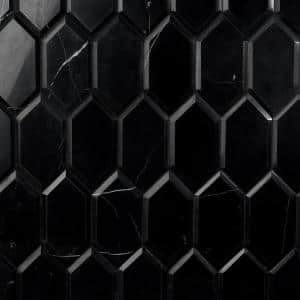 Blackout Nero Marquina 3.93 in. x 7.87 in. Hexagon Marble Wall Tile (3.84 sq. ft./Case)