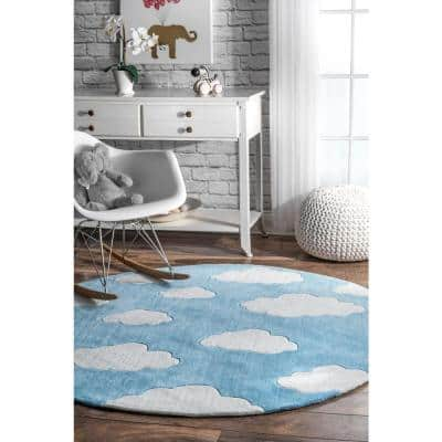 Clouds Playmat Blue 5' Round Rug
