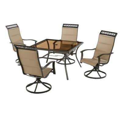Statesville Scroll 5-Piece Steel Padded Sling Swivel Outdoor Patio Dining Set in Toffee Tan