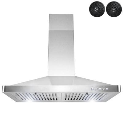 30 in. 217 CFM Convertible Kitchen Stainless Steel Wall Mount Range Hood with LED and Carbon Filters