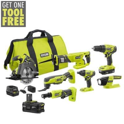 RYOBI ONE+ 18V Cordless 6-Tool Combo Kit w/ (2) Batteries, Charger, Bag w/ 1/4 in. 4-Position Ratchet